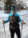 Snowshoeing with poles at Hawrelak Park