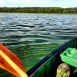 Canoeing on a quiet lake