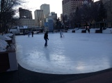 Skating is available at City Hall, along with chairs, to help you balance. There are used skates to borrow on some weekends
