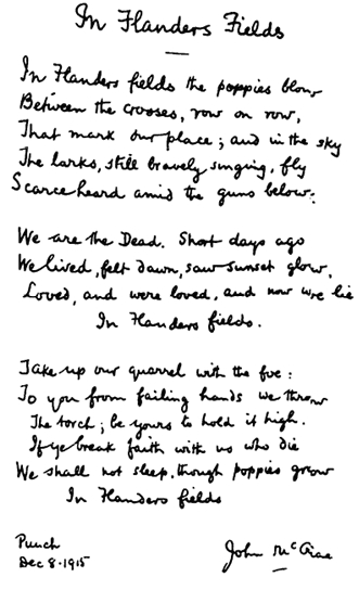 In Flanders Fields: Remembrance Day