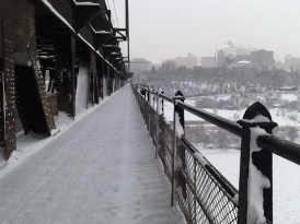 High Level Bridge in the snow