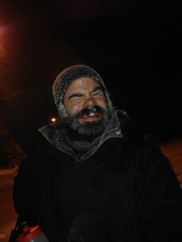 Frost can form on facial hair, on a cold day outdoors