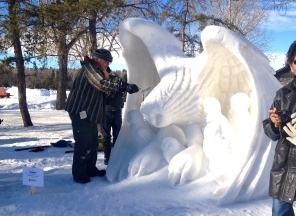 Snow sculptures at Silver Skate Festival, Hawrelak Park