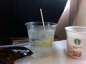 Whenever I fly, I always drink tonic water. Usually, I never drink soft drinks!