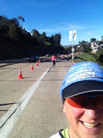 "At the top of ""Heatstroke Hill"" in the San Diego 1/2 Marathon, 26 degrees, and 1.5 kilometres of uphill!"
