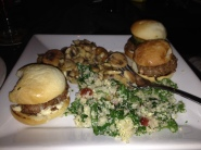 Kobe beef sliders, kale and quinoa salad and sautéed mushrooms at Gordon Biersch Brewery