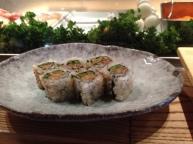 Seared salmon and asparagus sushi at Nobu Restaurant
