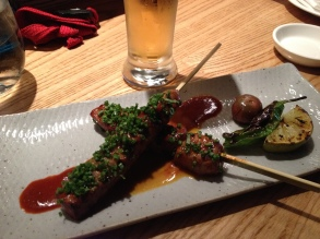 Beef skewers with spicy Peruvian sauce at Nobu Restaurant