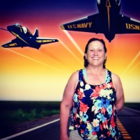 At the Air & Space Museum: a photo image of me with the Blue Angel Navy jets