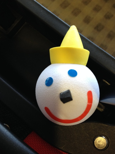 Antenna balls from Jack in the Box restaurant. For only $1, you can easily find your car in a busy parking lot.