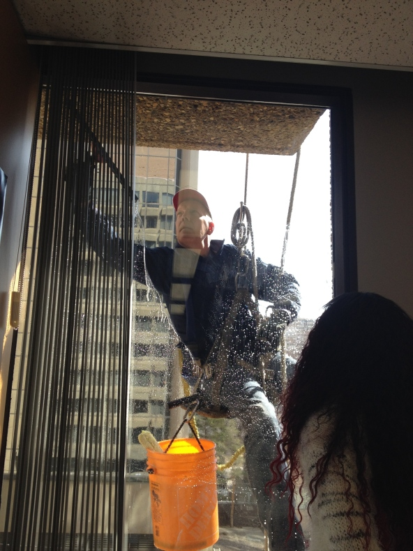 Washing windows: a sign of spring!