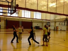 Playing basketball at MacEwan Sports & Wellness