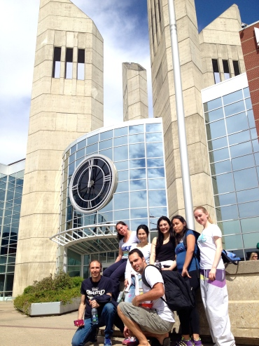 Out front of the campus at MacEwan University.