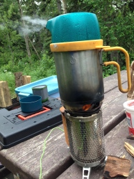 My Biolite stove cooks with small pieces of wood, and it helps to recharge my phone. With the attached kettle, I can boil water very quickly, and then I cooked my eggs on the stove.