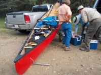 Beginning the portage into Lakeland