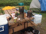 Cooking meals with my BioLite woodstove was a little more challenging in the rainy, windy weather.