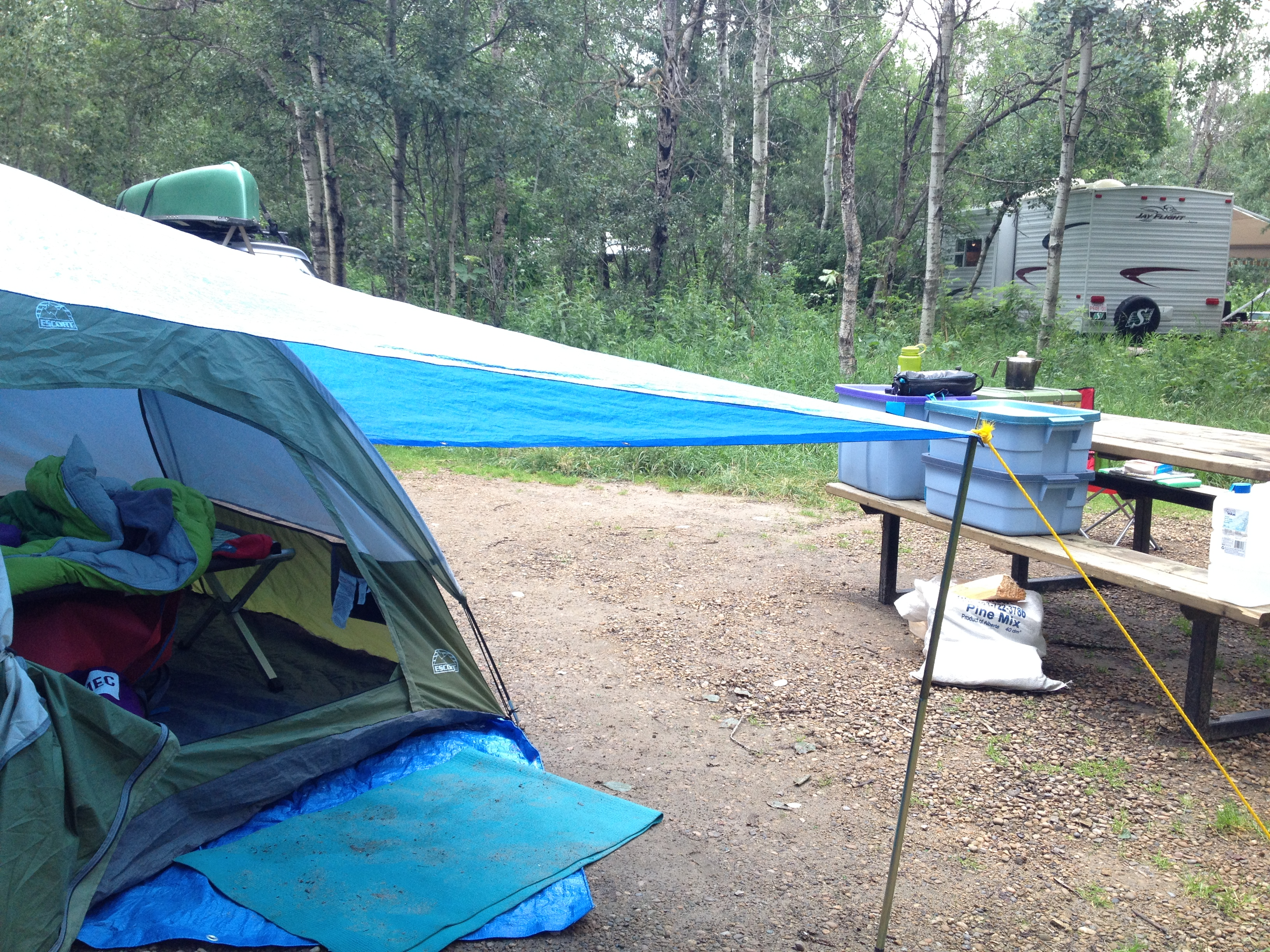 Because of the heavy rains I put up a tarp to cover my tent and & Camping close to home: Miquelon Lake | ellenu0027s esl teaching blog