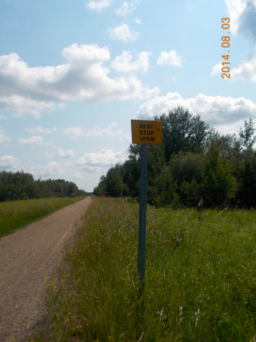 There were signs 10 kilometres from each rest area.