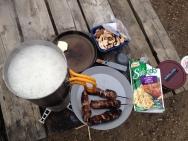 Preparing Sidekicks with grilled meat skewers and mushrooms.