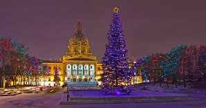 The Alberta Legislature at Christmas