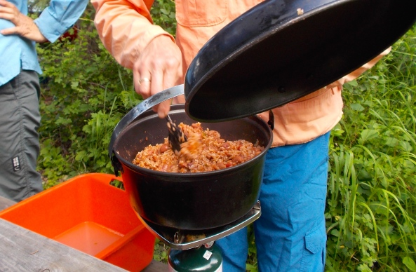 Chili that was cooked at home and frozen, tasted great in Lakeland Provincial Park.