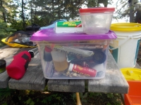 Staples packed for canoe-cooking, including Nuun capsules.