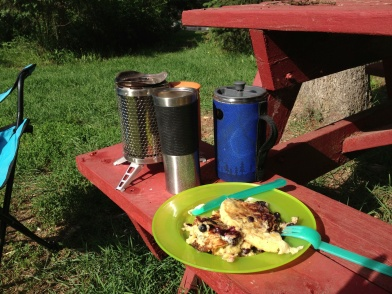 Cooked polenta, eggs and veggies, with the morning coffee