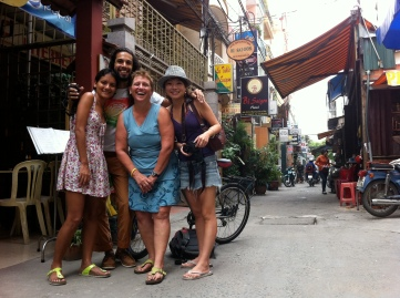 With Couchsurfers from Réunion, France, and Hong Kong, in Ho Chi Minh City, Việt Nam