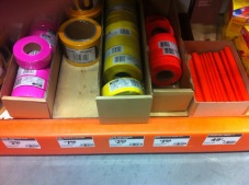 Survey flagging tape, $3/roll. located in tool section of Home Depot