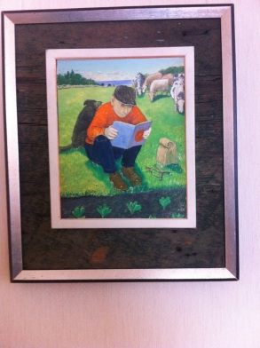 William Kurelek: picture of a cowherd reading suspense