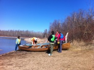 The group sets out to explore the lake
