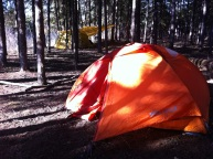 My comfy, 2-person home, among the tents and the trees