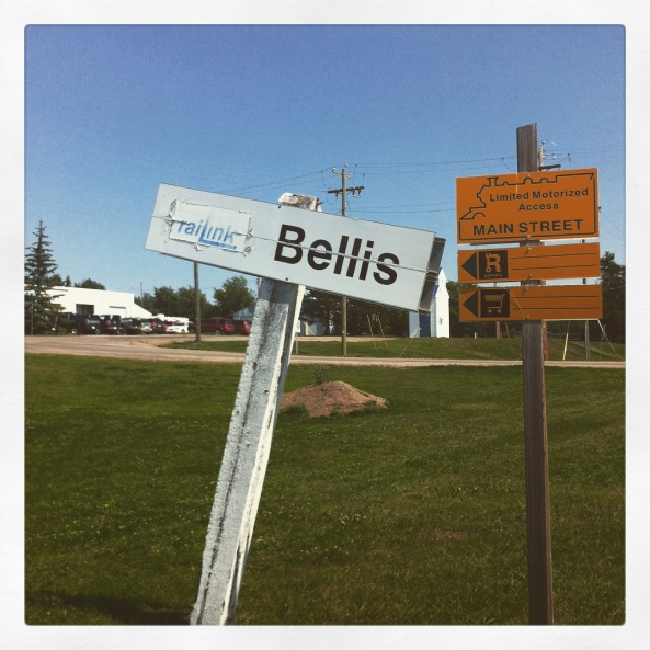 Trailhead in Bellis, AB includes original train sign