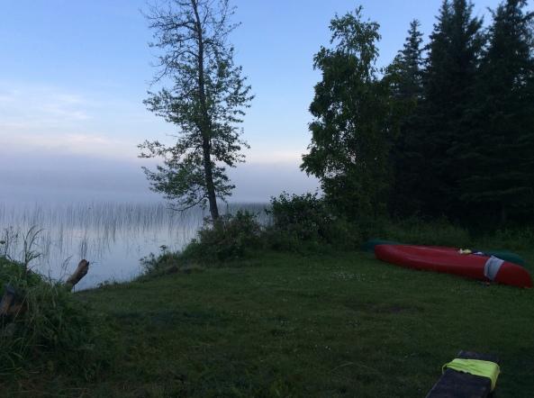 A misty morning on Jackson Lake