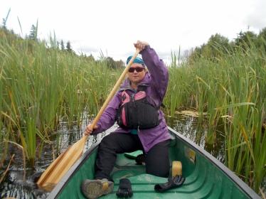 Paddling through the reeds