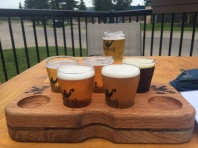A beautiful flight of beer tasters at Troubled Monk Brewing in Red Deer