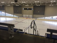 The new Downtown Community Rink, on the north side of the new arena. Free public skating, several times a week, as well as free skate and helmet rentals