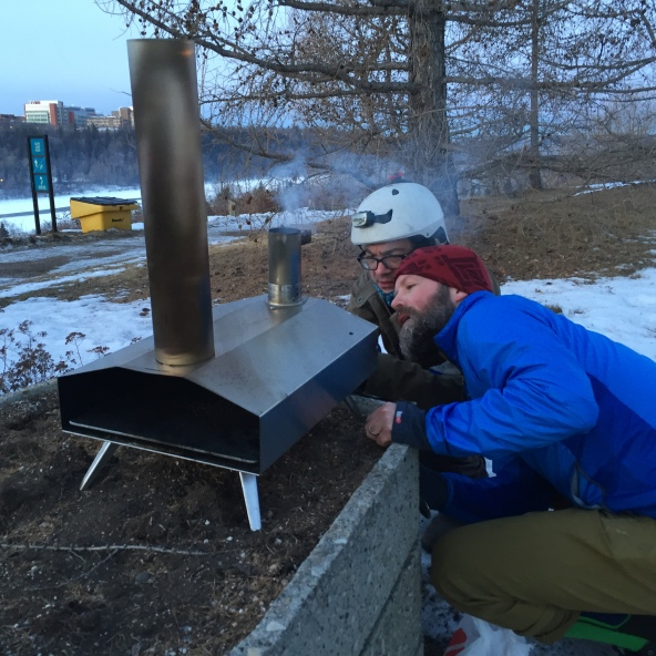 Doc Darren got a pizza oven that he could bring by bicycle so we had breakfast pizza outside one wintry morning!